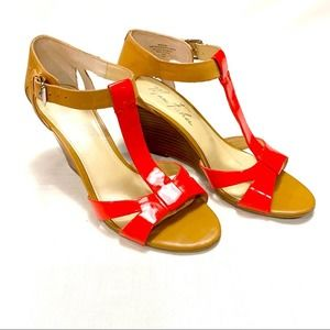 Marc Fisher Red Strappy Wedge Sandal - 6.5M